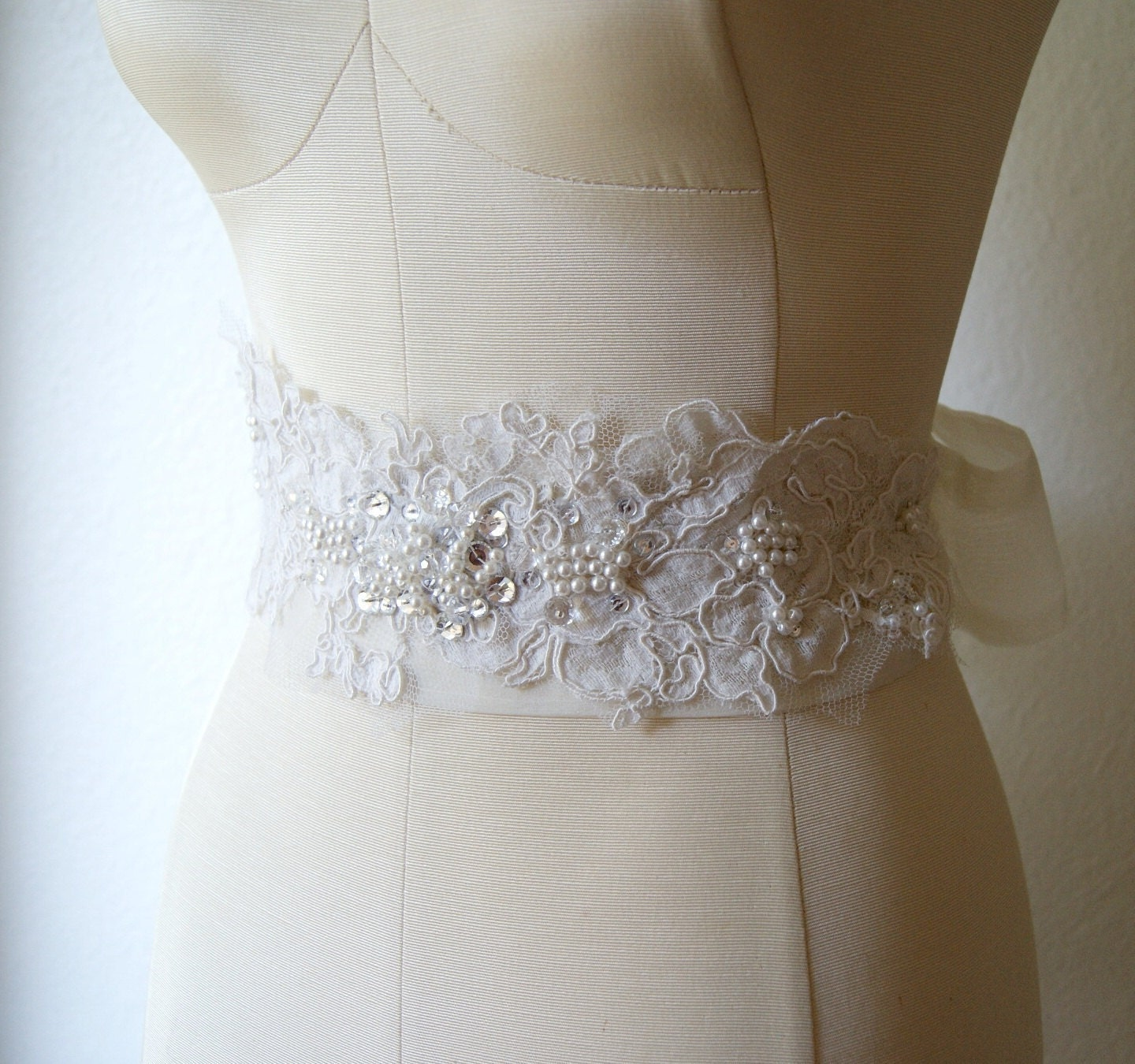 Vintage lace bridal sash ivory and crystal by venustbridal for Ivory wedding dress sash