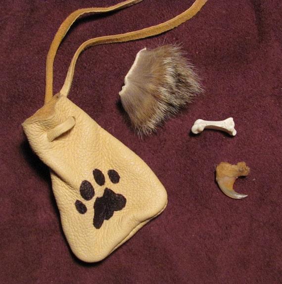 Bobcat Spirit Totem Real Leather Medicine Pouch
