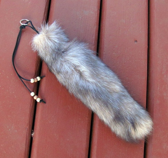 Real Beautiful Pearl Fox Tail Keychain