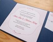 Modern Raspberry Letterpress Wedding Invitation Set