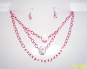 hot pink metal chain necklace with glass large hole beads