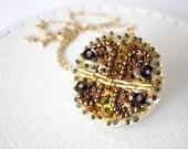 Brown Pendant Sequin Fashion unique bead embroidered felt