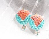 Reserved  for Brittany Smith Earrings Peach Turquoise