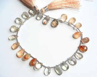 Maasai Sunstone Faceted Pear Briolettes (7x10 to 7x10 mm) 24 pieces / 48.50 carats / 20 cm / Quality AAA / Product Code 607