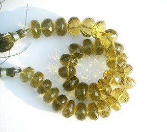 Olive Quartz Faceted Roundel Beads ( 11 to 12 mm) 24 pieces / 183.60 carats / 18 cm / Quality AAA / Product Code 608