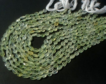 Prehnite Faceted Pear Semi Precious Gemstone Beads (A) / 39 Pieces / CODE 603