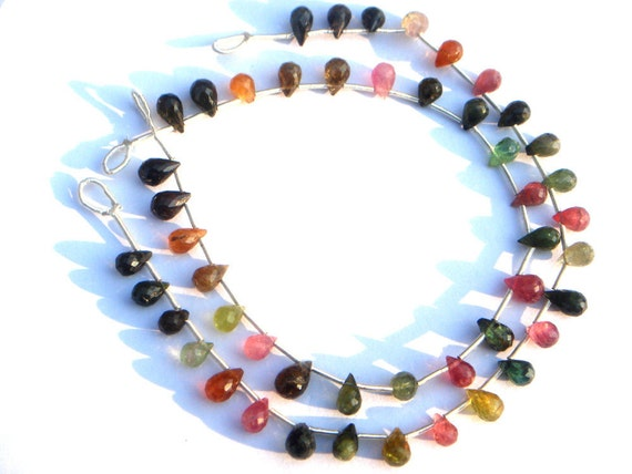 Multi Tourmaline Faceted Drops Semi Precious Gemstone Beads (Quality A) / 24 Pieces / CODE 227