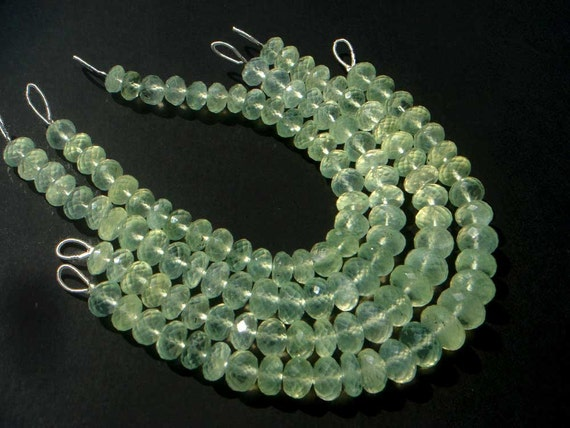 Prehnite Faceted Roundel Semi Precious Gemstone Beads (Quality B) / 31 pieces / CODE 382