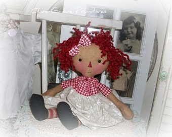 Primitive Doll pattern Raggedy Ann cloth doll e-pattern cloth doll pattern pdf rag doll pattern Mollie Annie by olive grove primitives