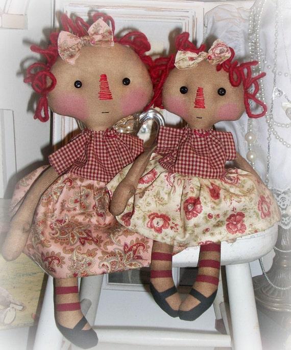 Primitive Raggedy Annie cloth doll e-pattern Ella and Bella Annie by olive grove primitives