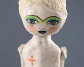 Nurse Art Doll, Ceramic Hanging Sculpture, Air Dry Clay, Original Handmade, Red Cross Inspired Art Object, Drawing on Clay, Keramik, Kunst