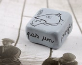 Gray Geometric  Clay Wolf Brooch pIN- Je Ne Suis Pas Un Ange - FREE SHIPPING
