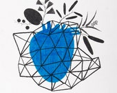 Heart and Plants Geometry DRAWING - You Caught My Heart
