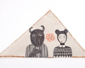Ceramic Ornament, Mixed Media Wall Art, Drawing, Air Dry Clay, Geometric, Weird Art Decor, Triangle Hanging Sculpture, Couple, Friendship