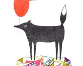 ORIGINAL Dog with a Heart Balloon DRAWING - I Love You