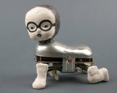 Automaton Baby Doll, Mixed Media , Metal Art, Clay Sculpture, Unique Drawing, Reclaimed Art, China Doll, Metal Toy, Vintage, Weird 3 d