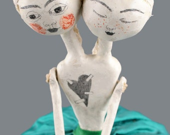 SALE ! Air Dry Clay Art Doll, OOAK, Mixed Media Art, Hanging Sculpture, Ceramic, Wall Ornament, Surreal, Weird, Handmade Original, Kunst