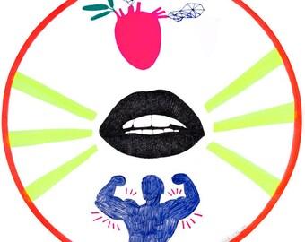 Man with Muscles Drawing, Pop Art, Neon Green, Hot Pink Heart, Weird Illustration, Workout, Body Building, Love, Heart, Round Art, 繪畫