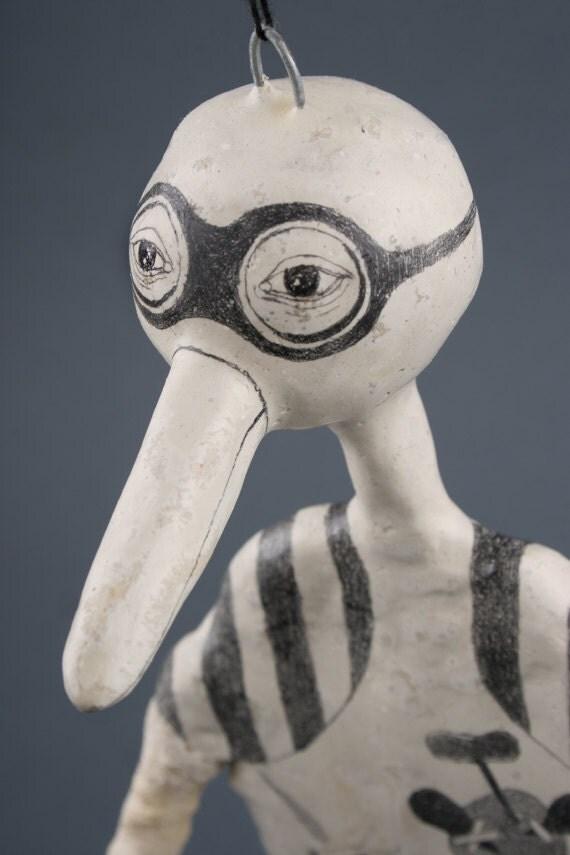 Bird Hanging Sculpture, Original Art Doll, Design Art Object, Art, Sculpture, Drawing on Clay,  Bird Sculptures, Birds, Vogel Skulptur, 雕塑