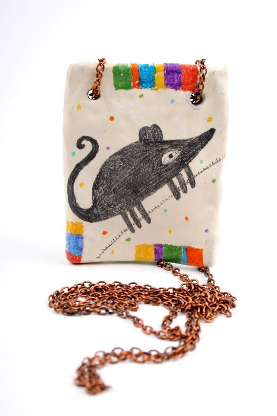Traveling Mouse - Clay Animal Necklace Pendant