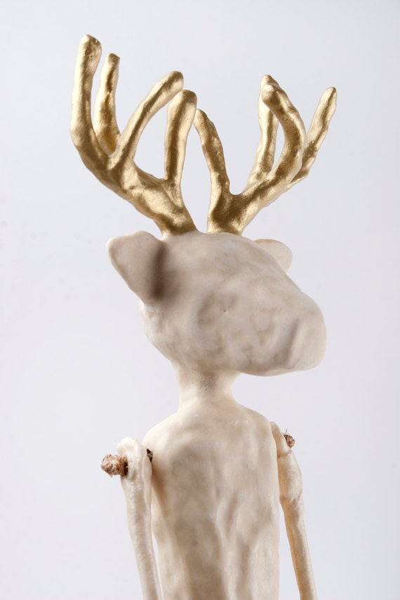 RESERVED Clay Deer Contemporary Folk  Art Doll - Golden Antlers