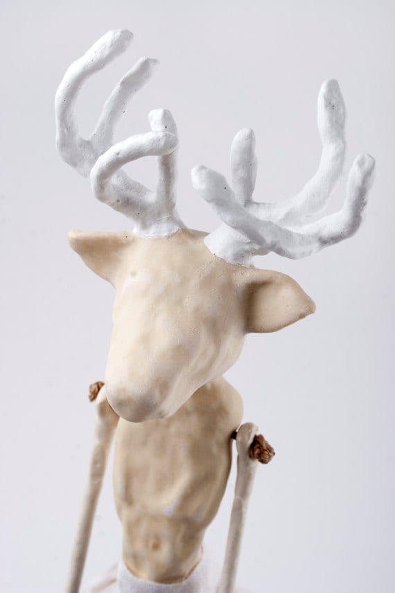 RESERVED  Mixed Media OOAK Clay Deer Art Doll