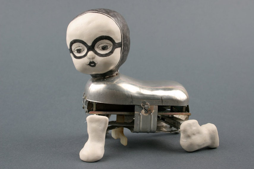Automaton Baby Doll Mixed Media Metal Art Clay Sculpture