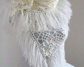 Cream mohair tringle shawl.. wedding bridal shawl.knitting, fashion, necktie, shrug, wrap, stole, capelet, black, women, scarflette