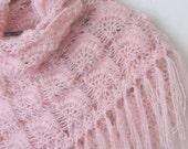 Crochet Hand Silver Glitter Powder Pink  Shawl...wedding bridal shawl.knitting, fashion,shrug,stole, capelet, cream, women, scarflette,