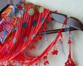 Traditional  Turkish Yemeni Oya RED-BLUE  Scarf,authentic, romantic, elegant, fashion,weddings,bridal,vintage,rustic