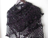 FREE SHIPPING..BLACK Pink glimmers  triangle shawl..wedding,shawl, knitting, necktie, shrug, wrap, stole, capelet, black, scarflette