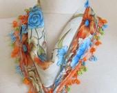 Traditional ORANGE-BLUE Flowers Turkish Oya Scarf ..wedding,bridal,scarf,authentic, romantic, elegant, fashion,april,spring