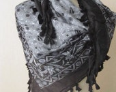 BLACK-GREY Tasseled Turkish Yemeni  Scarf ..%100 Cotton..bridal,scarf,authentic, romantic, elegant, fashion,