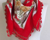 RED cotton scarf / Square women scarf / Turkish cotton scarf / OYA Scarf / red cotton scarf