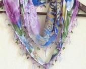 Traditional Flowers Turkish Oya Scarf ..wedding,bridal,scarf,authentic, romantic, elegant, fashion,april,spring