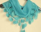 Turkish Fabric Fringed  Guipure  Scarf ..bandana,headband,wedding,bridal,authentic, elegant, fashion