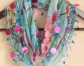 Turquoise Turkish YEMENI Oya Scarf ..wedding,bridal,scarf,authentic, romantic, elegant, fashion,april,spring