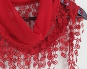 RED Turkish Fabric Fringed  Guipure  Scarf ..bandana,headband,wedding,bridal,authentic, elegant, fashion