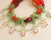 Christmas gift -YEMENI  necklace green,orange, multicolor, spring,summer,wedding