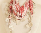 Chiffon Fabric Fringed  Guipure Scarf .bandana,headbandshawl,authentic, romantic, elegant, fashion,aqua