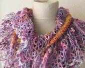Elastic Ruffle Crochet  Scarf..authentic, romantic, elegant, fashion,violet,pink,blue,raspberry rose,weddings,bridal,aqua,purple,