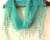 MINT Green ,Sea Green Cotton Fabric Fringed  Guipure  Scarf ..bandana,headband,wedding,bridal,fashion
