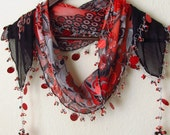 FREE..BLACK & Red - Grey   Multicolor Turkish Yemeni OYA Scarf ..bridal,scarf,authentic, romantic, elegant, fashion,