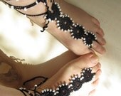 BLACK  barefoot sandal -  lace  barefoot sandal - barefoot sandal - barefoot thongs - anklet beach ,beach wedding