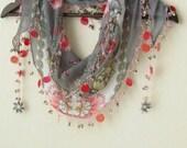 Carnations and Traditional YEMENI Turkish Oya Scarf ..wedding,bridal,authentic, romantic, elegant, fashion,april,spring
