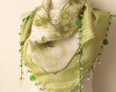 Tringle  Pistachio Green -Pear Yemeni Oya Cotton Scarf .,authentic, romantic, elegant, fashion