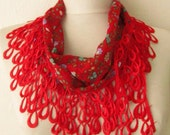 Traditional  Turkish Fabric Fringed RED  Guipure  Scarf-Gift ..shawl,authentic, romantic, elegant, fashion