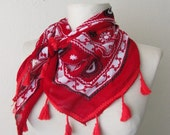 RED -White fringed multicolor Ottoman design authentic scarf-..%100 Cotton authentic, romantic, elegant, fashion