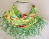 Yellow-Green Tulle Fabric Fringed  Guipure  Scarf-Gift ..shawl,authentic, romantic, elegant, fashion