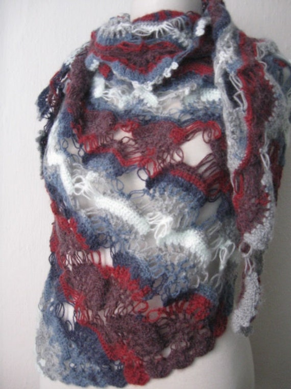 GREY-Claret red-white  mohair tringle shawl,,ivory, knitting, fashion, necktie, shrug, wrap, stole, capelet, red,scarflette